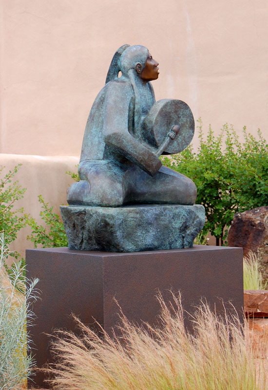 The courtyard of a museum in Santa Fe NM reminds us of the cultural context from which much of the art and gardens of New Mexico grow.