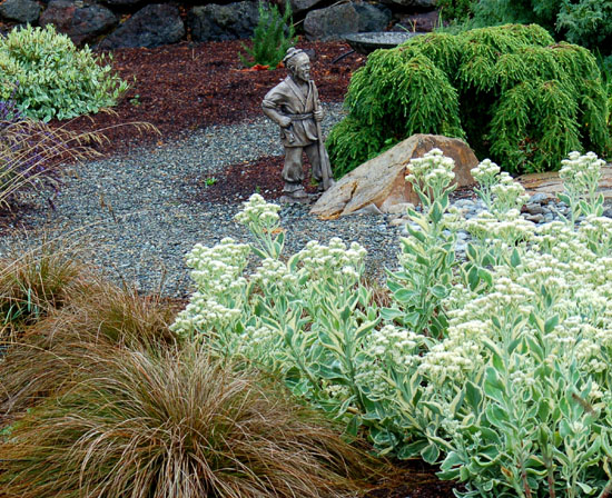 We take a turn around a newly-installed garden in Port Ludlow, WA where a civic-minded resident transformed his empty lot into an informal neighborhood park.